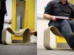 DIY rope chair.....Really cool and you could make little tables too! Would make a cool foot stool.