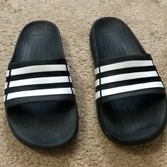 check out ea62d d3605 adidas Shoes   Adidas Duramo Slide Flip Flop Boys K5   Color  Black White    Size  5b