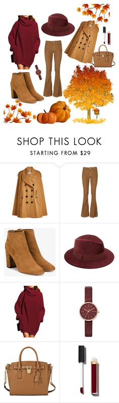 """love autumn <3"" by alma-mesic on Polyvore featuring Burberry, Dondup, Aquazzura, Saks Fifth Avenue, Skagen, MICHAEL Michael Kors and Chanel"
