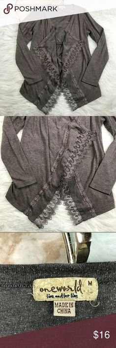 "One World Lace Trim Cardigan One World gray lace trim waterfall draped open front cardigan. Womens size Small. Gently used, without flaws. See pictures for details.  Armpit to Armpit - 19"" Length - 26""  Inventory 04122017 ONE WORLD Sweaters Cardigans"