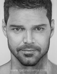 Pencil Drawing - Ricky Martin - Graphite by Gabriel Serna