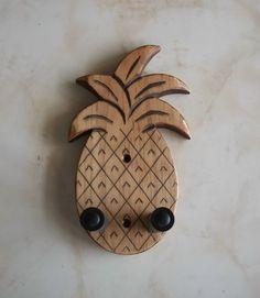 Ukulele wall mount hanger, hand carved pineapple, brown