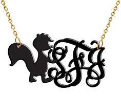 Monogram Necklace Acrylic Skunky Hand Made Custom by vitabravo1, $23.99