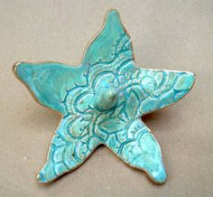Sea Green Lace Starfish Ring Holder Bowl with gold edging