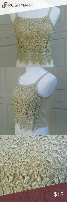 Crochet Lace Tank Tan tank top with beautiful crochet on the front with plain ribbed back. Tops Tank Tops
