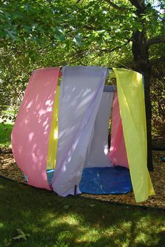 Use a hoola hoop and some plastic table cloths, fabric, or paper to make a special area... Mayhaps an outdoor stoner cave?