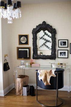Vanity room: grasscloth walls, lucite desk, chandelier, and cowhide. Home Office Design, House Design, Studio Design, Lucite Desk, Dressing Table Design, Dressing Tables, Dressing Area, Dressing Rooms, Manhattan Apartment