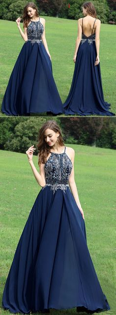 Cute backless navy blue chiffon prom dress with sequins top