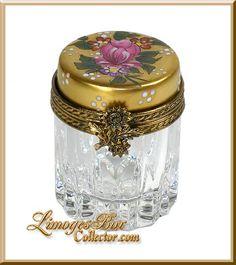 24K Gold & Rose w/ Crystal Limoges Box - Retired