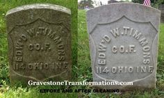 Edward W Timmons  Forest Cemetery, Circleville, Pickaway County Ohio  before cleaning and after cleaning   Gravestone Transformations uses cleaning techniques to make sure there isn't any harm to the monuments, the surrounding foliage or the environment.   Contact them today for an estimate!!!   Their normal service area is:  Fairfield County, Ohio  Franklin County, Ohio  Pickaway County, Ohio  Ross County, Ohio   They will provide service outside of those areas for an additional charge.