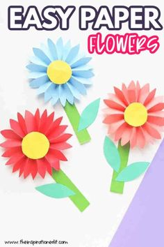 Simple Paper Flower, Paper Flowers For Kids, Tissue Paper Flowers, Paper Dahlia, Paper Daisy, Duck Crafts, Crafts For Kids, Construction Paper Flowers, Yellow Crafts