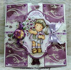 girl lavender open card