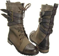 Two pairs of combat boots isn't a bad thing, right? Because, these are amazing Motorcycle Riding Boots, Military Combat Boots, Dark Fashion, Mens Fashion, Botas Western, Kleidung Design, Mode Shoes, Mein Style, Character Outfits