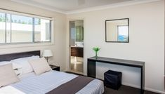 Steps away from Nobbys Beach. Book your holiday rental in Port Macquarie Bedroom With Ensuite, Master Bedroom, Holiday Booking, Port Macquarie, Furniture Placement, New Property, Beach Houses, House 2, Dining Area
