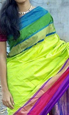 Green Ikkat silk Saree with ikkat weaves in body