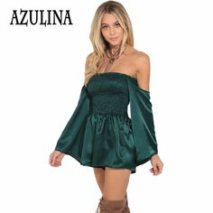 Find More Rompers Information about AZULINA Sexy Vintage Off The Shoulder Short Jumpsuit Romper Green Long Sleeve Slash Neck Lolita Playsuit Satin Tunic Overalls,High Quality romper green,China overall jumpsuit Suppliers, Cheap short jumpsuit from AZULINA Store on Aliexpress.com