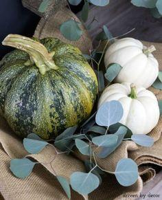 Pumpkins+nestled+in+burlap+for+simple+fall+decor