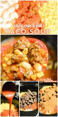 Easy Crock Pot Taco Soup Recipes That Crock! 25 Ground Beef Crock Pot Recipes The Recipe Rebel. Crock Pot Slow Cooker, Crock Pot Cooking, Slow Cooker Recipes, Beef Recipes, Mexican Food Recipes, Soup Recipes, Cooking Recipes, Recipies, Easy Cooking
