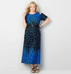 Falling Dot Cold Shoulder Maxi DressFalling Dot Cold Shoulder Maxi Dress,