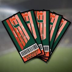 Miami Hurricanes Birthday Invitations Party Ticket 10 Pack