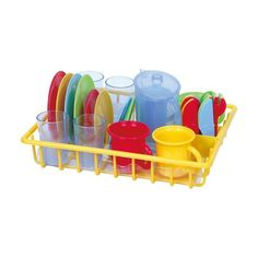 Pretend Play Dishes With Dish Drainer Kids Kitchen Accessories Toys for sale online Kitchen Playsets, Toy Kitchen, Pretend Kitchen, Toddler Toys, Kids Toys, Villa Vanilla, Kids Kitchen Accessories, Dish Drainers, Dose