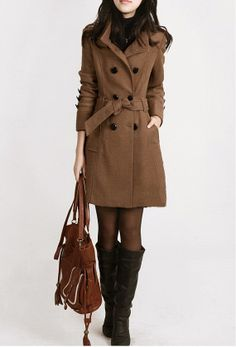 women's Cashmere Coat Double Breasted Fitted Wool Coat jacket ...