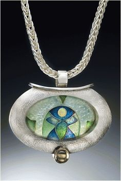 Lillian Jones - Enamel Jewelry, enamel pendant, enamel necklace, blue and green pendant