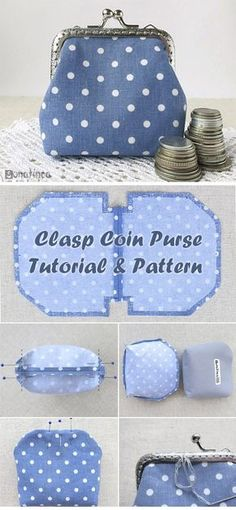 Coin Purse Tutorial - Clasp Coin Purse Tutorial ~ How to sew free tutorial for beginners. Ideas for sewing projects. -Clasp Coin Purse Tutorial - Clasp Coin Purse Tutorial ~ How to sew free tutorial for beginners. Ideas for sewing projects. Sewing Hacks, Sewing Tutorials, Sewing Tips, Sewing Ideas, Tutorial Sewing, Wallet Tutorial, Diy Coin Purse Tutorial, Free Tutorials, Sewing Patterns Free