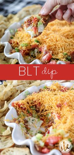 The Ultimate BLT Dip Recipe layered with Bacon, Lettuce, Tomato and Cheese! #BLT #dip #appetizer #recipe #bacon #summerdip #entertainingrecipe #easy via @inspiredbycharm