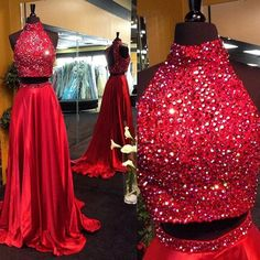 Find More Prom Dresses Information about Sexy Evening Dress 2017 Two Pieces High Collar Beading Bodice Red Satin Floor Length Formal Evening Gown Vestidos De Noche,High Quality gowns white,China dress end Suppliers, Cheap dress up games free games from Sweety-Bridal on Aliexpress.com