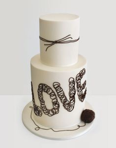 Love: Cake designer Faye Cahill created a simple two-tiered cake covered in fondant, then embellished the tiers with brown icing designed to resemble twine. Beautiful Wedding Cakes, Gorgeous Cakes, Pretty Cakes, Cute Cakes, Amazing Cakes, Cake Wedding, Wedding Bride, Rustic Wedding, Tie The Knot Wedding