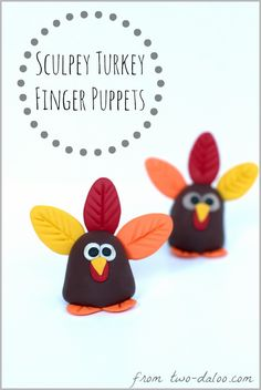 Make a cute turkey finger puppet with polymer clay.
