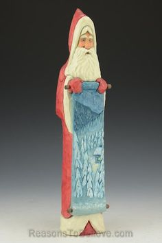 Ellis Olson - Large Red Santa with Winter Scene 11.5 inches