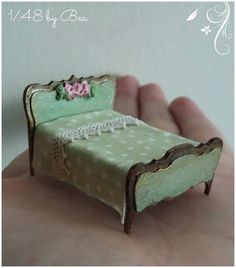 1/48 dollshouse miniatures scale double bed sculpted and hand painted french…