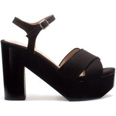 Zara Platform Ankle-Strap Sandals ($80) ❤ liked on Polyvore