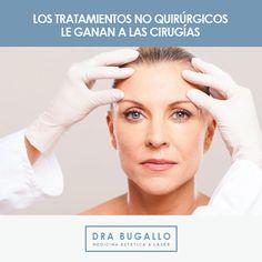 Hoy se eligen los cambios naturales en lugar de los bruscos. Según la Asociación Americana de Cirugía Plástica, el 89% de los pacientes optan por tratamientos mínimamente invasivos:             ESTETICA FACIAL:  Arrugas - Surcos =  Rellenos faciales de Acido Hialuronico, tecnica 3D, Soft lift, 3R's - Toxina Botulinica ( Botox, Xeomin).  Flaccidez = #Thermage - #VenusFreeze - #PlasmaRico en plaquetas - Redensity by Filorga - Conyoctyl francés - Mesoterapia antihomotoxica.   www.drabugallo.com