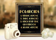 Gatsby wedding polaroid guest book sign. Roaring 20s party printable decoration in Gold and Black Art deco party supplies Strike a pose by PartyGraphix on Etsy https://www.etsy.com/listing/232206816/gatsby-wedding-polaroid-guest-book-sign