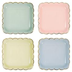 MULTI-COLOR PASTEL PAPER PARTY PLATES  Lovely mint green, baby blue and yellow and soft pink will add some soft feminine flair to your Spring celebration.  Accented in shiny gold scalloped edge.  Bonjour Fete - Boutique party supplies in Montreal Canada - ships to all North America