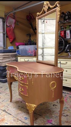 Gold  Vintage Vanity MADE TO ORDER by TraceysFancy on Etsy, $800.00