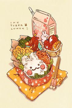 """Inktober A regular bunny bento lunch 🐰🍱! Cute Food Drawings, Kawaii Drawings, Cute Food Art, Cute Art, Arte Copic, Hxh Characters, Food Sketch, Food Cartoon, Watercolor Food"