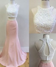 two pieces prom dresses, pink evening dresses #SIMIBridal #promdresses