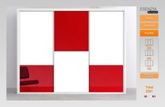 Este es el armario de hoy pues tiene una combinacion de puertas un tanto singular con un toque divertido que hemos combinado en blanco lacado con cristal rojo