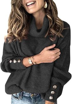 Plus Size Long Sleeve Plain Casual Sweater Womens Turtleneck Street Tops Pullover Warm Knitted Sexy Outfits, Outfits Mujer, Outfits Casual, Mode Outfits, Winter Outfits, Casual Wear, Loose Knit Sweaters, Thick Sweaters, Casual Sweaters