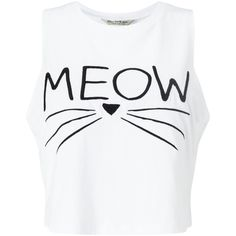 Miss Selfridge Petite Meow Slogan Vest, White (19 105 LBP) ❤ liked on Polyvore featuring tops, shirts, crop tops, tank tops, petite, crop tank, white sleeveless vest, no sleeve shirt, long-sleeve crop tops and white crop tops