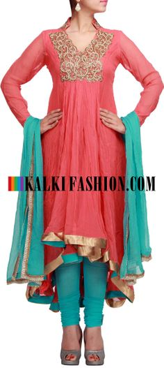 Buy Online from the link below. We ship worldwide (Free Shipping over US$100) http://www.kalkifashion.com/peach-anarkali-suit-with-yoke-highlighted-in-zari-and-gathers-only-on-kalki.html Peach anarkali suit with yoke highlighted in zari and gathers only on Kalki