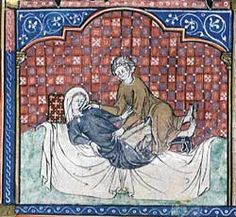 The Fitzwilliam's manuscript is incomplete, but in the other pages that survive one can discern a similar frankness about sexual matters. One section deals with what would today be called date rape: a young man invites a girl to dinner, violates her and then forces her father to agree to their marriage, [folio 137r - details below]. The rape is particularly vividly depicted.