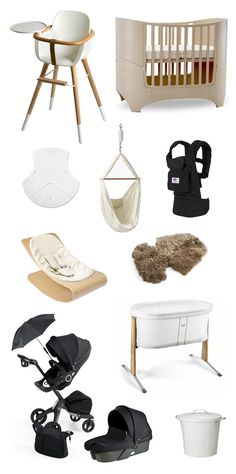 minimalist baby gear  1. Ova Highchair 2. Leander Convertible Crib 3. Puj Soft Foldable Tub 4. Natures Sway Baby Hammock 5. ERGObaby Organic Carrier 6. Bloombaby Stylewood Infant Seat 7. Stokke Xplory Stroller Sheepskin Lining 8. Stokke Xplory Stroller in True Black 9. Baby Bjorn Cradle 10. IKEA KNODD diaper pail