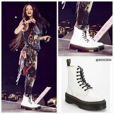 Rihanna in Dr. Martens white Jadon 8-eye platform boots.