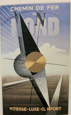 Chemin de Fer du Nord Vintage Poster (artist: A. Cassandre Adolphe Mouron) France c. Blog Art, Silkscreen, Graphic Art, Graphic Design, Art Deco Posters, Typographic Poster, Typography, Vintage Travel Posters, Art Deco Design