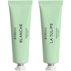 Byredo Hand Cream Duo & Blanche & La Tulipe ($70) ❤ liked on Polyvore featuring beauty products, bath & body products, body moisturizers, filler and byredo